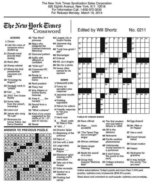It's just an image of Ny Times Sunday Crossword Printable with regard to immigration