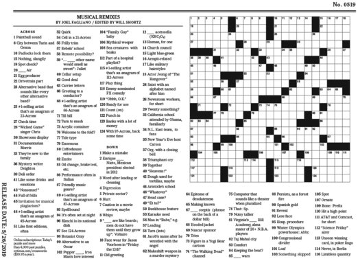 Exhilarating image throughout new york times sunday crossword printable